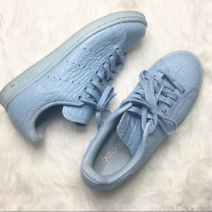 Baby Blue Croc Embossed Adidas Stan Smith